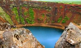 Kerid volcano crater stock photo