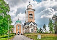 Kerimaki 芬兰 木教会和钟楼 免版税库存图片