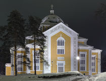 Kerimaki Church in winter night, Finland Royalty Free Stock Images