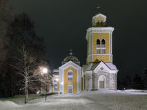 Kerimaki Church in winter night, Finland Royalty Free Stock Photo