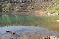 The Kerio Crater Lake  , August 2017. Sometimes spelled Kerid is located in the Grímsnes area in south Iceland, and is one of the most photogenic volcanic Stock Photo