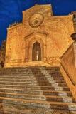 Kerk in Custonaci, het Blauwe Uur royalty-vrije stock afbeelding