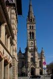 Kerk in de blauwe hemel van Stuttgart stock afbeelding
