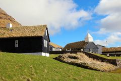 Kerk in de Faeröer Stock Afbeeldingen