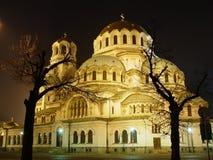 Kerk in de nacht Stock Afbeelding