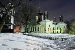 Kerk in de sneeuw Stock Afbeelding