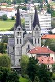 Kerk in de stad van Gottschee - KoÄ  evje Stock Foto's