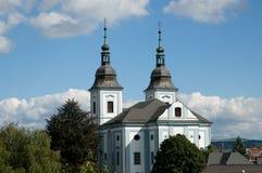 Kerk in de stad Zamberk, Tsjechische republiek stock foto