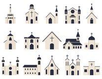 Kerk de vector van het de bouwpictogram Stock Foto