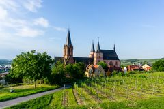 Kerk in de wijngaarden van Oppenheim, Duitsland stock foto