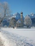 Kerk in de winter in Duitsland Stock Afbeeldingen