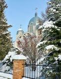 Kerk De winterdagen Ternopil ukraine royalty-vrije stock foto's
