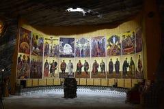 Kerk - de zoutmijn van Ocnele de Mari-Republiek royalty-vrije stock afbeelding