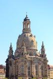 Kerk Dresden Frauenkirche in Neumarkt Stock Foto