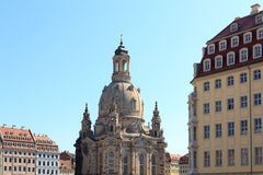 Kerk Dresden Frauenkirche in Neumarkt Royalty-vrije Stock Foto's