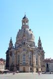 Kerk Dresden Frauenkirche in Neumarkt Stock Foto's
