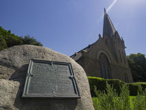 Kerk en boommening in Forest Lawn Memorial Park Royalty-vrije Stock Fotografie