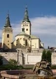 Kerk en fontein in Zilina Stock Foto