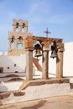 Kerk en klokken op Patmos Stock Foto