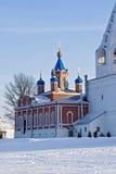 Kerk en Klokketoren in de winter Kolomna royalty-vrije stock afbeelding