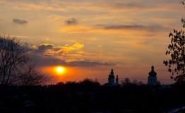 Kerk en klokketoren van Eletsky-Klooster in stad van Chernigov Stock Afbeelding