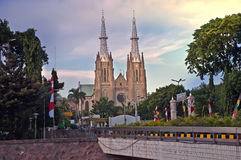 Kerk en mooie hemel Stock Afbeelding