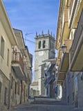 Kerk en straten Royalty-vrije Stock Afbeelding