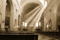 Kerk en zonstraal Royalty-vrije Stock Afbeelding
