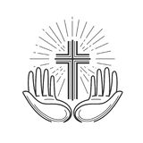 Kerk, godsdienstembleem Bijbel, kruisiging, kruis, gebedpictogram of symbool Lineair ontwerp, vectorillustratie stock illustratie