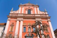 Kerk in het Centrum van Ljubljana stock foto