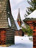 Kerk in het museum in Pribylina stock afbeeldingen