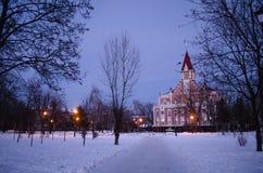 Kerk in het park in de winter Het landschap van de nacht stock fotografie