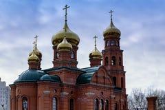 Kerk, koepels, tempel, Barnaul, Altai, Kerstmis royalty-vrije stock fotografie