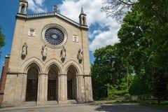 Kerk in Krzeszowice (Polen) stock foto's
