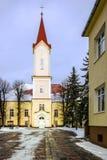 Kerk in Liptovsky Mikulas, Slowakije royalty-vrije stock fotografie