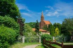 Kerk in Lubin, Polen stock foto's