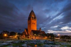 Kerk Masthugget in Gothenburg bij nacht royalty-vrije stock afbeelding