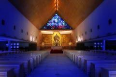 Kerk met beeld van Jesus stock foto