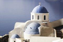 Kerk met blauwe koepel Stock Afbeeldingen