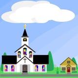 Kerk met gebrandschilderd glasvensters Royalty-vrije Stock Afbeeldingen