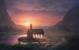 Kerk met licht in vensters royalty-vrije illustratie