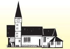 Kerk met torenspits stock illustratie