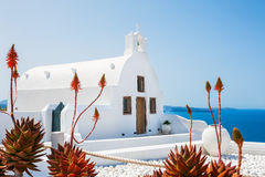 Kerk in Oia stad, witte architectuur op Santorini-eiland Stock Foto