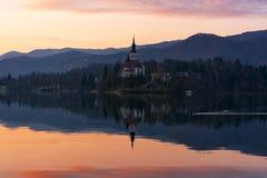 Kerk op een eiland op Meer in Slovenië wordt afgetapt dat royalty-vrije stock afbeelding