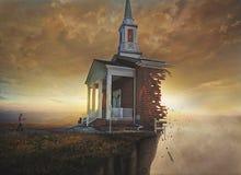 Kerk op een klip Stock Afbeeldingen