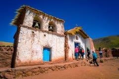 Kerk op Machuca, San Pedro Atacama, Chili stock foto's
