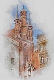 Kerk, Oude Stad in Torun, Polen, digitale waterverfillustratie Royalty-vrije Stock Foto