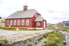 Kerk in Qaqortoq, Groenland stock foto