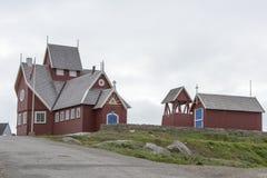 Kerk Qeqertarsuaq, Groenland stock foto's