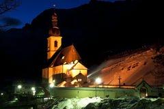 Kerk in 's nachts Ramsau Royalty-vrije Stock Foto